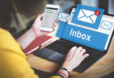 Email Inbox Electronic Communication Graphics Concept. People Checking Email Inbox Communication stock photos