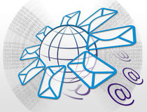Email and Internet. Email icon with envelope and world map in abstract background Stock Photo