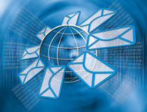 Email and Internet. Email icon with envelope and world map in abstract background Stock Photos
