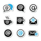 Email, internet cafe, wifi  icons set Royalty Free Stock Images