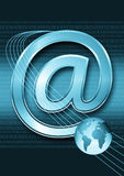 Email / internet concept. With binary code and globe Royalty Free Stock Photos