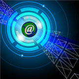 Email / internet concept showing globe and envelopes Royalty Free Stock Photography