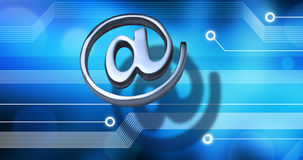 Email Internet Technology Background. A metal email alias symbol or at sign with a computer circuit board background Royalty Free Stock Photos