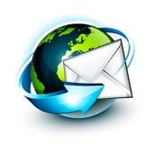 Email intorno al globo del mondo illustrazione vettoriale