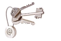 Email keys. Steel keys with email symbol on a white background Royalty Free Stock Images