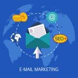 Email lançant l'art sur le marché de concept Image stock