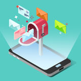 Email lançant le concept sur le marché dans le style isométrique Photo stock