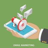 Email lançant le concept sur le marché isométrique plat de vecteur Image libre de droits