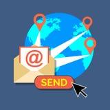 Email lançant sur le marché, concept de bulletin d'information Conception plate élégante Photos stock