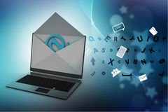 Email and laptop Royalty Free Stock Images