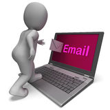 Email On Laptop Shows E-mail Mailing Or Correspondence Stock Photo