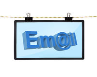 Email. LCD tv screen with email hanging on a rope Royalty Free Stock Image