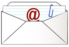 Email letter. Envelope stuffed with letter ready to email Stock Photo