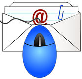 Email letter with mouse. Mouse over top of envelope stuffed with letter ready to email Stock Photos