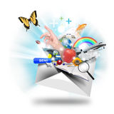 Email Letter Opening On White Stock Image