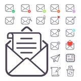 Email letter vector icons set envelope cover communication correspondence blank address outline mailbox design paper Stock Image