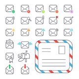 Email letter vector icons set envelope cover communication correspondence blank address outline mailbox design paper Royalty Free Stock Images