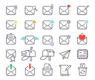 Email letter vector icons set envelope cover communication correspondence blank address outline mailbox design paper Royalty Free Stock Image