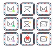 Email letter vector icons set envelope cover communication correspondence blank address outline mailbox design paper Stock Photos