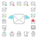 Email letter vector icons set envelope cover communication correspondence blank address outline mailbox design paper Royalty Free Stock Photography