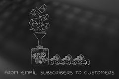 Free Email List Turning Into Cash, From Subscribers To Customers Stock Photos - 73286433