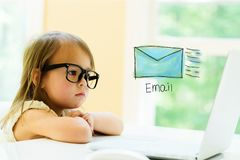 Email with little girl Royalty Free Stock Images