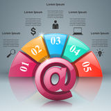 Email and mail icon. Abstract 3D Infographic. Stock Image