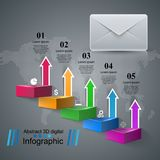 Email and mail icon. Abstract 3D Infographic. Business paper Infographics origami style Vector illustration Stock Photo