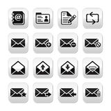 Email mailbox  buttons set. Modern icons on grey square buttons - communication, getting in touch Stock Photography