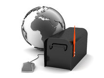 Email - mailbox, earth globe and computer mouse Royalty Free Stock Photos