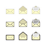 Email and mailbox icon set, vector eps10 Stock Photography