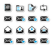 Email mailbox  icons set as labels Stock Image