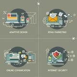 Email Marketing, Adaptive Design, Online Communication, Internet Security. Email Marketing, Adaptive Design, Online Communication and Internet Security flat line royalty free illustration