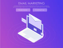 Email marketing banner. Computer on abstract gradient background with envelopes Stock Photo