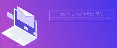 Email marketing banner. Computer on abstract gradient background with envelopes Stock Image