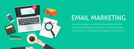 Email marketing banner, email analyzing or inspecting newsletter campaign data Stock Images