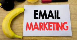 Email Marketing. Business concept for Online Web Promotion written on sticky note empty paper, wooden background with copy space,. Email Marketing. Business Stock Photos