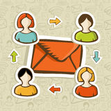 Email marketing campaign concept background. Email marketing campaign diversity people connection over social icons pattern. Vector illustration layered for easy Stock Photography