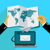 Email marketing concept in flat style, Vector web design and infographic Stock Image