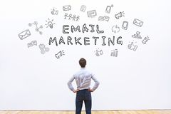 Email marketing. Concept, word with icons sketch Stock Photography