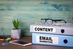Email marketing and content. Successful business, advertising and social networking information Stock Photos