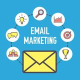 Email marketing design. Flat banner concept with icons. Digital marketing. Vector illustration on blue background.  Stock Images