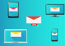 Email marketing design. Send email tablet smartphone and notebook Royalty Free Stock Photography