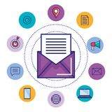 Email marketing digital social media concept design vector illustration. Icons Royalty Free Stock Photography