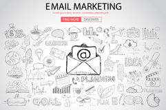 Email Marketing with Doodle design style Royalty Free Stock Photo