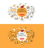 Email marketing. Flat line color hero images and hero banners de Royalty Free Stock Images