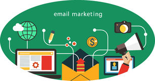 Email Marketing. Flat mobile app - email marketing. Interface icons in an oval vector illustration