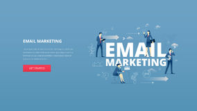 Email marketing hero banner. Vector illustrative hero banner of email marketing. Marketing hero website header with men and women business characters around Royalty Free Stock Image
