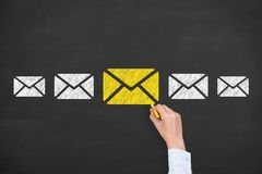 Email marketing newsletter and bulk mail concepts on blackboard. Working Royalty Free Stock Photo