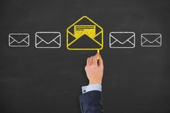 Email marketing newsletter and bulk mail concepts. Working Royalty Free Stock Image